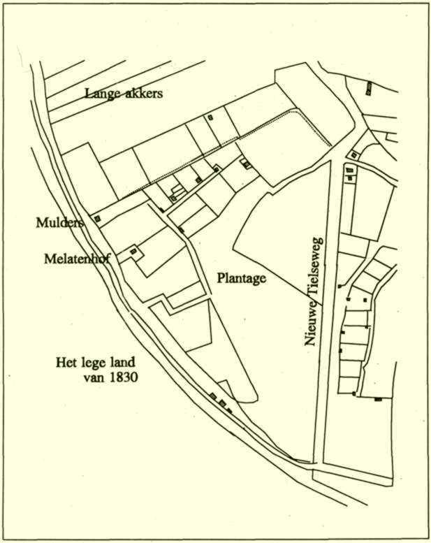Kaart van de wijk in 1830